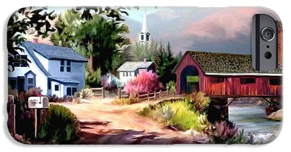 Covered Bridge Paintings iPhone Cases - Country Covered Bridge II iPhone Case by Ronald Chambers