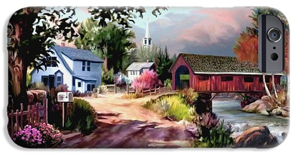 Covered Bridge Paintings iPhone Cases - Country Covered Bridge iPhone Case by Ronald Chambers