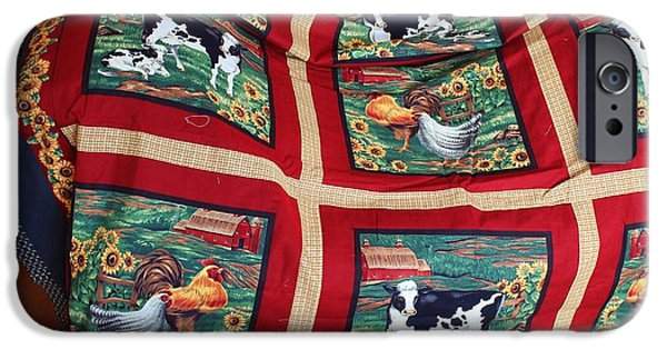 Winter Scene Tapestries - Textiles iPhone Cases - Country Cows and Roosters Quilt iPhone Case by Barbara Griffin