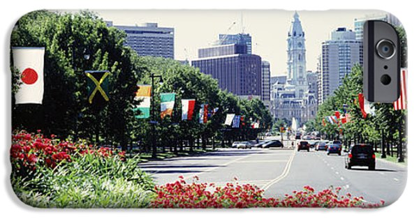 Philadelphia City Hall iPhone Cases - Country Flags On Trees Along Martin iPhone Case by Panoramic Images