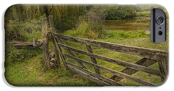 Willow Lake iPhone Cases - Country - Gate - Rural simplicity  iPhone Case by Mike Savad
