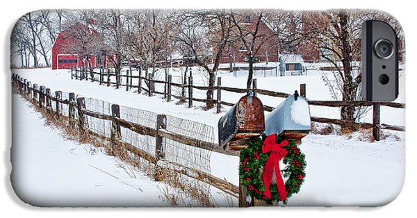 Wreath iPhone Cases - Country Holiday Cheer iPhone Case by Teri Virbickis