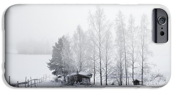 Drifting Snow Photographs iPhone Cases - COUNTRY HOME for WINTER iPhone Case by Daniel Hagerman