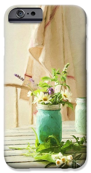 """indoor"" Still Life Digital Art iPhone Cases - Country kitchen with wild flowers in jar/ digital painting iPhone Case by Sandra Cunningham"