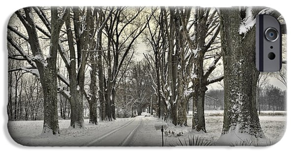 Daviess County Photographs iPhone Cases - Country Lane in Winter iPhone Case by Wendell Thompson