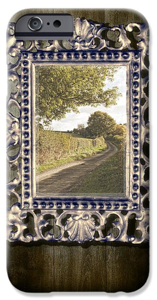 Gothic iPhone Cases - Country Lane Reflected In Mirror iPhone Case by Amanda And Christopher Elwell