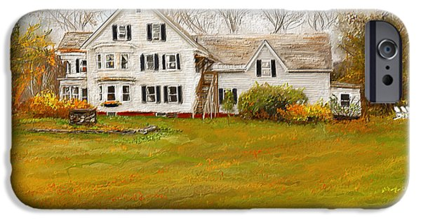Autumn Scenes Paintings iPhone Cases - Country Moments-Farmhouse in Woodstock Vermont iPhone Case by Lourry Legarde