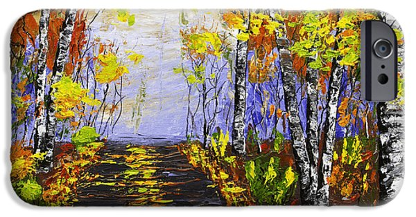 Woodlands Scene Paintings iPhone Cases - Country Road And Birch Trees In Fall iPhone Case by Keith Webber Jr