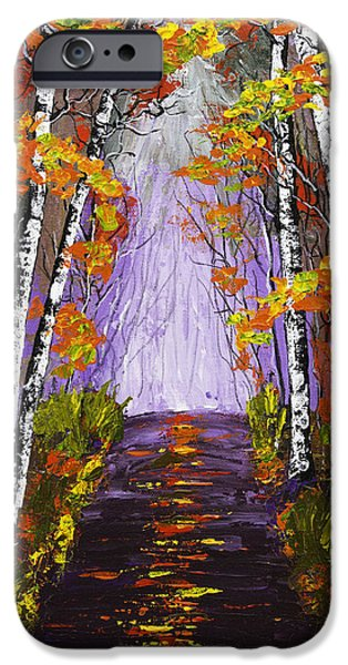 Woodlands Scene Paintings iPhone Cases - Country Road And Birch Trees In Fall Painting iPhone Case by Keith Webber Jr