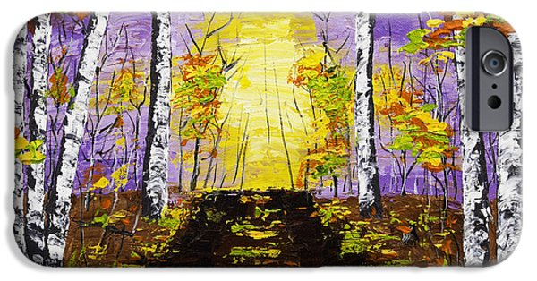 Woodlands Scene Paintings iPhone Cases - Country Road And Coloful Birch Trees In Fall iPhone Case by Keith Webber Jr