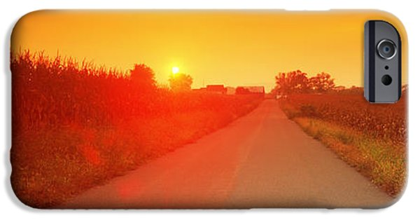 The Way Forward iPhone Cases - Country Road At Sunset, Milton iPhone Case by Panoramic Images
