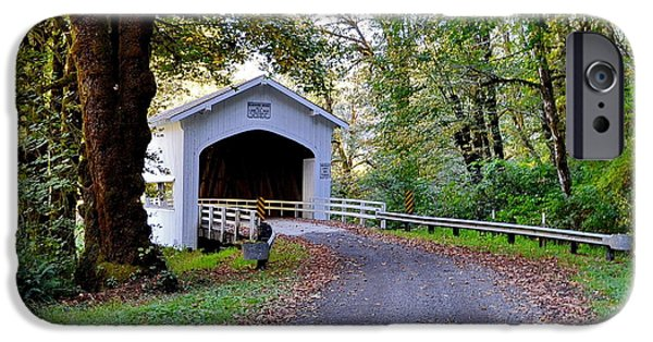 Covered Bridge Pyrography iPhone Cases - Country Road II iPhone Case by Ansel Price