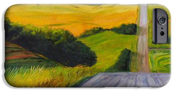 Business Paintings iPhone Cases - Country Road iPhone Case by Nancy Merkle