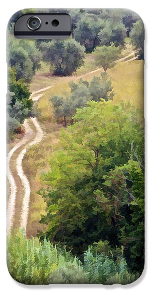 Tuscan Road iPhone Cases - Country Road of Tuscany iPhone Case by David Letts