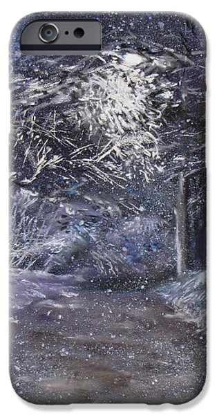 Jack Skinner Pastels iPhone Cases - Country Road on a Wintery Night iPhone Case by Jack Skinner