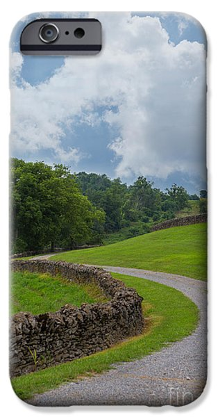 Kaypickens.com iPhone Cases - Country Road with Limestone Fence iPhone Case by Kay Pickens