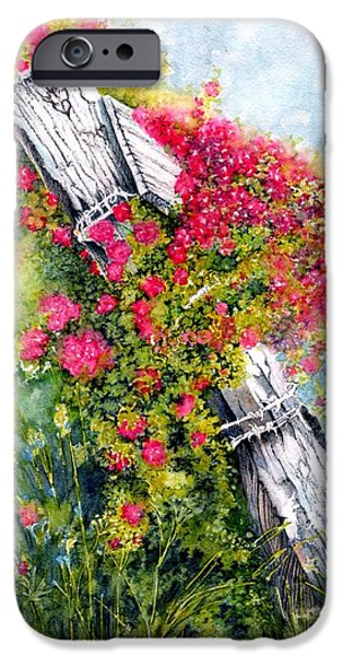 Old Fence Posts iPhone Cases - Country Rose iPhone Case by Janine Riley