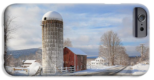 Connecticut Farm iPhone Cases - Country Snow iPhone Case by Bill  Wakeley