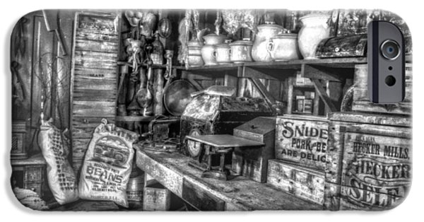 Country Store iPhone Cases - Country Store Supplies Black and White iPhone Case by Ken Smith