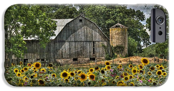 Rural Scenes Digital Art iPhone Cases - Country Sunflowers iPhone Case by Lori Deiter