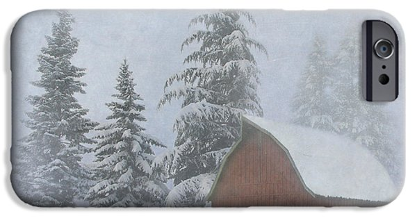 Red Barn In Winter iPhone Cases - Country Winter iPhone Case by Angie Vogel