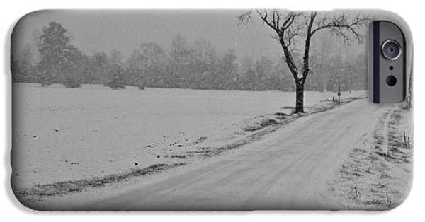 Christmas Eve iPhone Cases - Country Winter Roads iPhone Case by Dan Sproul