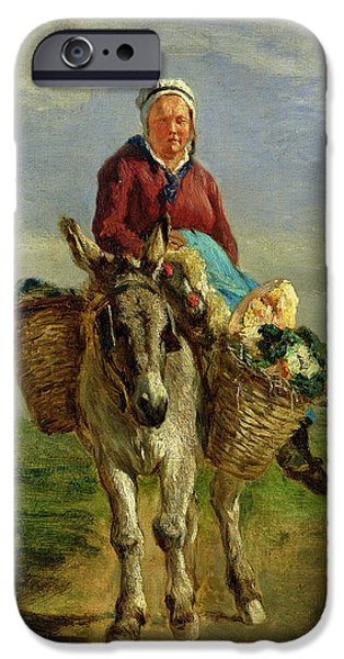 Poverty iPhone Cases - Country Woman Riding a Donkey iPhone Case by Constant-Emile Troyon