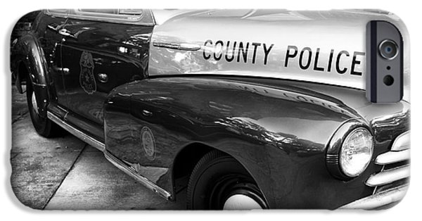 Police Art iPhone Cases - County Police in black and white iPhone Case by John Rizzuto