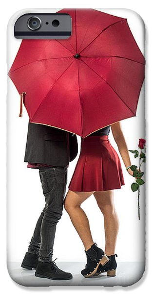 Women Together iPhone Cases - Couple and Umbrella iPhone Case by Carlos Caetano