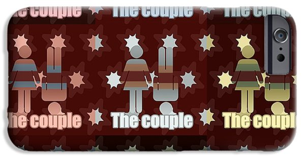 Bonding Mixed Media iPhone Cases - Couple in pop art iPhone Case by Toppart Sweden