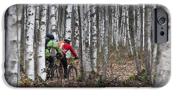 Women Together iPhone Cases - Couple Mountain Biking Along Campbell iPhone Case by Joe Stock