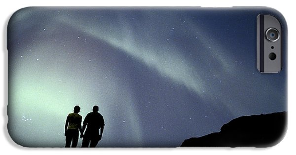 Women Together iPhone Cases - Couple On Ridge Viewing N. Lights iPhone Case by Michael DeYoung