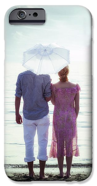 Young Man Photographs iPhone Cases - Couple On The Beach iPhone Case by Joana Kruse