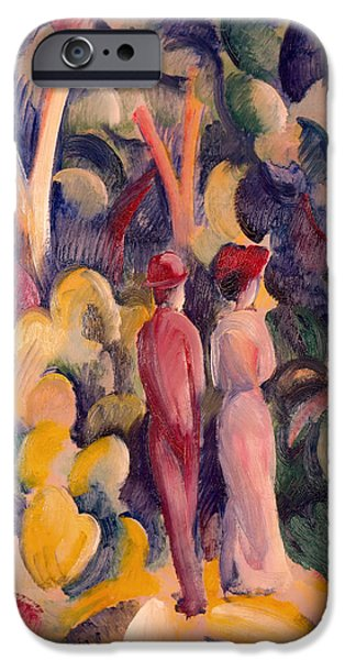 Women Together iPhone Cases - Couple on the Forest Track iPhone Case by August Macke