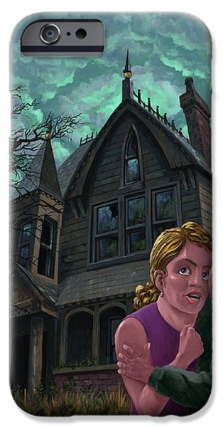 Ghost Story iPhone Cases - Couple Outside Haunted House iPhone Case by Martin Davey