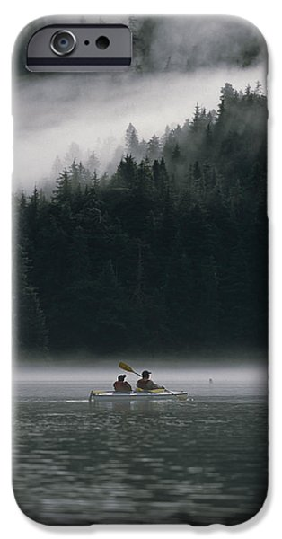Women Together iPhone Cases - Couple Sea Kayaking In Red Bluff Bay iPhone Case by Mark Kelley