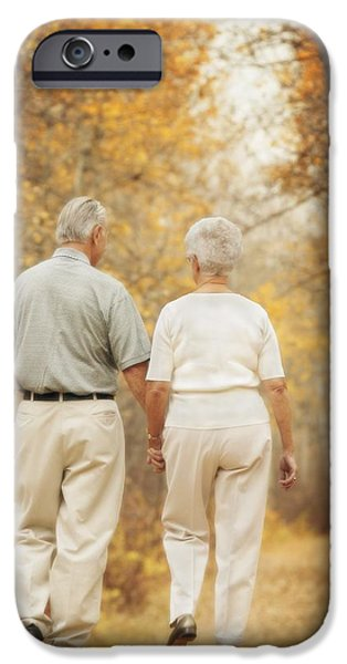 Women Together iPhone Cases - Couple Walk Down A Path iPhone Case by Don Hammond