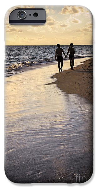 Couple iPhone Cases - Couple walking on a beach iPhone Case by Elena Elisseeva