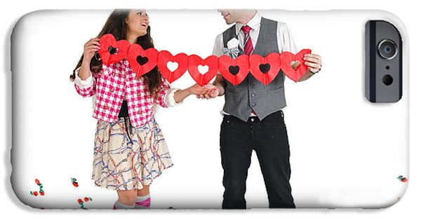 Bonding iPhone Cases - Couple With Heart Shape Paper Chain iPhone Case by Ilan Rosen