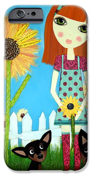 Little Girl Mixed Media iPhone Cases - Courage 2 iPhone Case by Laura Bell