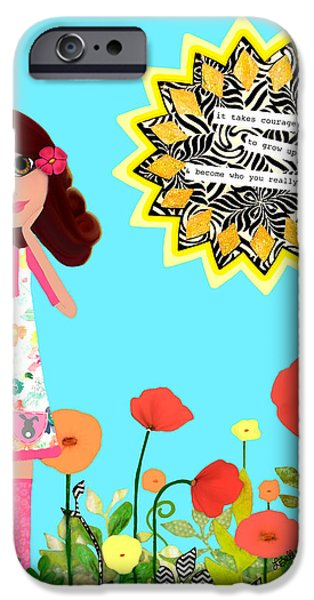Little Girl Mixed Media iPhone Cases - Courage iPhone Case by Laura Bell