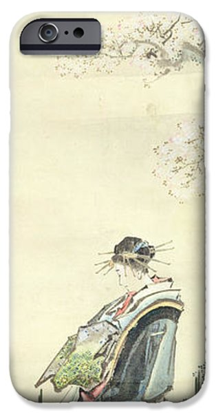 Pen And Ink iPhone Cases - Courtesan out for a walk iPhone Case by Katsushika Hokusai