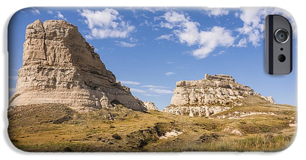 Nebraska iPhone Cases - Courthouse And Jail Rocks - Bridgeport Nebraska iPhone Case by Brian Harig