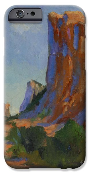 Desert Scape iPhone Cases - Courthouse Rock II iPhone Case by Maria Hunt