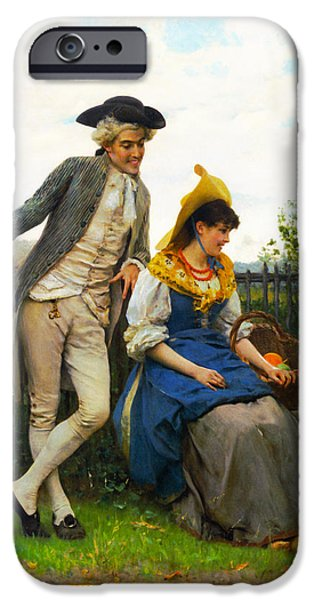 Garden Scene iPhone Cases - Courtship iPhone Case by Federico Andreotti