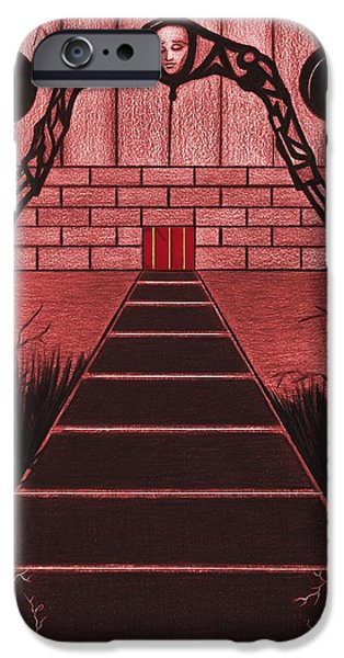 Pathway Drawings iPhone Cases - Courtyard iPhone Case by Danielle R T Haney