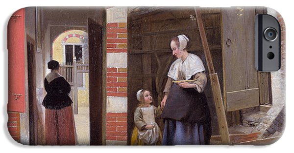 Domestic Scene iPhone Cases - Courtyard of a House in Delft iPhone Case by Pieter de Hooch