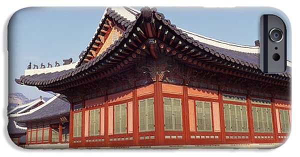 Tile Roofs iPhone Cases - Courtyard Of A Palace, Kyongbok Palace iPhone Case by Panoramic Images