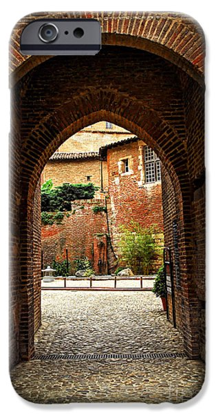 Courtyard of Cathedral of Ste-Cecile in Albi France iPhone Case by Elena Elisseeva