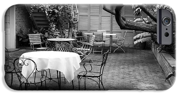 Patio Table And Chairs iPhone Cases - Courtyard Seating iPhone Case by John Rizzuto
